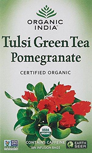 Organic India Tulsi Green Tea Pomegranate 18 Tea Bags  available at amazon for Rs.148