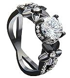 BeyDoDo Edelstahlring für Männer Schwarz X Kreuz Blumen Weiß Kristall Verlobungsring Schwarz Ring Hochzeit Ringgröße 57 (18.1)