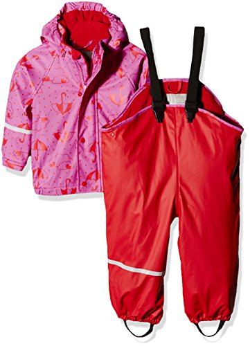 CareTec Kinder wasserdichte Regenlatzhose und -jacke im Set (verschiedene Farben), Rot (Red 402), 74