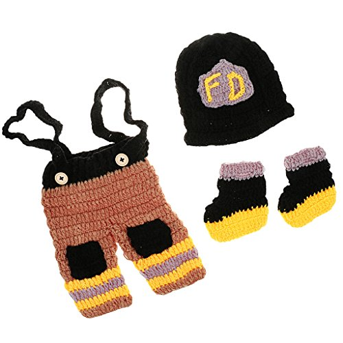 MagiDeal 3 Stück Feuerwehrmänner baby Fotografie Kleidung Fotoshooting -