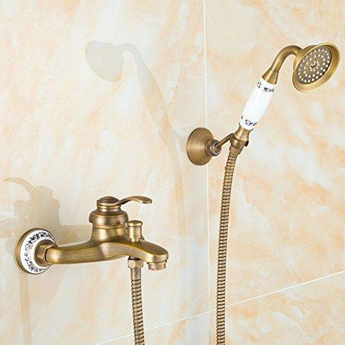 ANNTYE Waschtischarmatur Bad Mischbatterie Badarmatur Waschbecken Antike Dusche Set Retro Messing Handdusche Thermostatische Badezimmer Waschtischmischer