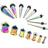 1 Set Estensore Flesh Tunnel Orecchio Tappo Double Flared e 1 Set Taper Dilatatore Colore Iride Rainbow 1,6-10 mm