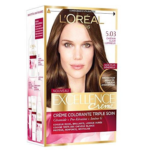 L'Oréal Paris - Excellence Crème - Coloration Permanente Triple Soin 100% Couverture Cheveux Blancs - Nuance 5,03 Châtain Clair Lumineux - Lot de 2