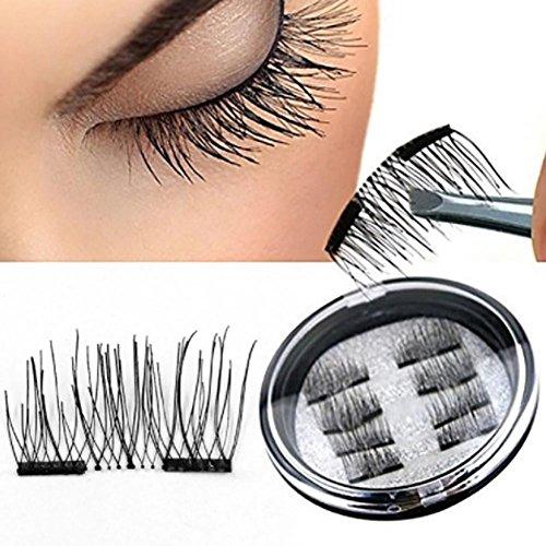 J.Causd 2 Paar / 8 Stück 3D Magnetische Falsche Wimpern Wiederverwendbare Magnet Wimpern Verlängerung Natürliche Weiche Untra-dünne Bequeme Künstliche Wimpern Make-up Zubehör H06 - Spa-check