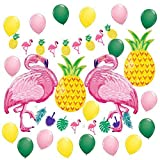 IEONGI Hawaii-Party Dekoration Luftballons, Tropisch Luau Strand Thema Party Dekor, 2 Flamingos 2 Ananas 1 Girlande Ammer Banner 18 Latex Ballons mit 5 Flamingos Pipetten (28 Packungen)