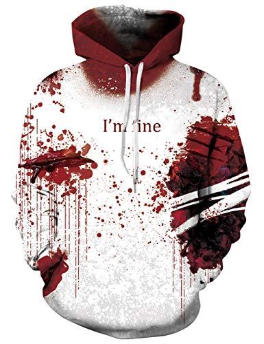 AIDEAONE Cool Hoodie Kapuzenpullover Herren Blut Sweatshirt Pullover für Herren Damen XL