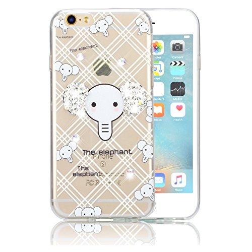Custodia iPhone 7 Plus TPU, Case Cover per iPhone 7 Plus in TPU,Bonice iPhone 7 Plus Bling Diamante Morbido Ultra Thin Rubber Case Cover iPhone 7 Plus 5.5 inch (elefante) medol 12