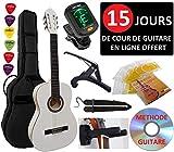 Pack Guitare Classique 3/4 (Enfant) 6 Accessoires Cour Vidéo et DVD (Blanc)