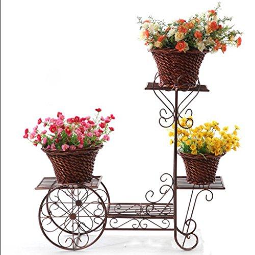 Laiton Blanc Fleur Pots Rack Étagère de Rangement Lanter Échelle Échelle Étagère Jardin Stand 3 Niveau Balcon Bureau ( Couleur : Brass )