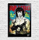 Sylvester Stallone aus Film Rambo First Blood - Original Gerahmt Fine Art Malerei, Pop-Art, Poster, Leinwand, Artwork, Film Plakat, Leinwanddruck, 1980