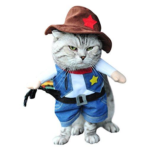 Haustierkleidung allgemein für Katzen und Hunde mehr Stil und Größe zu wählen zweifußgehhilfene Kleidung (【S】 Hals 20—24cm Brust 30cm Länge 14cm, cowboy) (Xx Kleine Hund Kleidung)