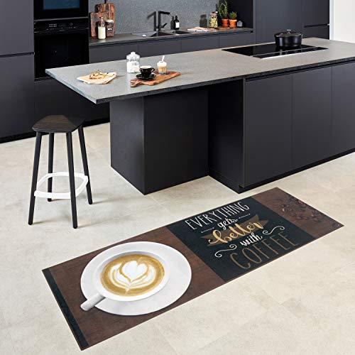 Carpet studio tappeto, passatoia per salotto/cucina/corridoio/esterni, decorazioni casa, sottostrato antiscivolo, facile da pulire, rifinito a mano, better coffee, 65x180cm
