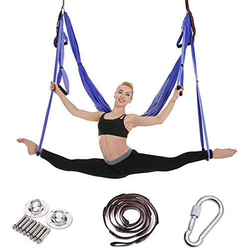 Aerial yoga swing - ultra starken antigravity yoga hängematte Trapez Tragetuch für antigravitation inversion yogaübungen - erweiterungen gurte enthalten -M (Riemen übung Hängende)