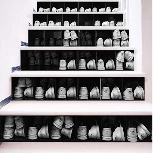asfrata265 Einfache Kreative 3D Treppe Aufkleber Schwarz Und Weiß Schuh Retrofit Treppe Aufkleber Selbstklebende Wandaufkleber Wasserdicht Dekoration PVC Aufkleber Wandbilder 6 ()