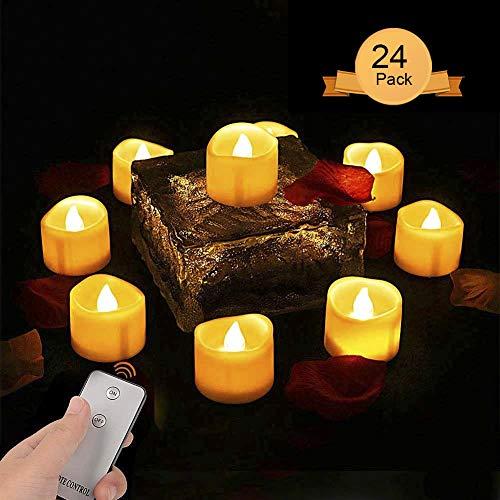 Neue Version LED Kerzen LED Tee Lichter Gelb Licht,Teelicht Kerzen Flammenlose Realistisch Flackernde with Fernbedienung Kein Timer für Camping & Outdoor und Außen (24 Stück)