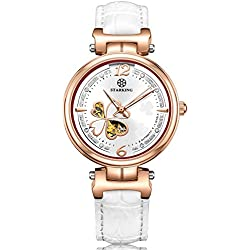 STARKING Women's AL0200RL11 Clover Rose Gold Automatic Skeleton H-Bar Watch with White Leather Strap