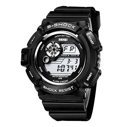 SKMEI S-Shock Alarm Date Week 50M Waterproof Digital Mens Watch (Black)