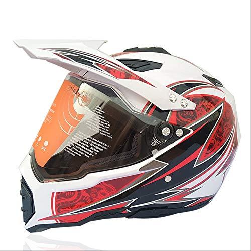DOUYA Casco Moto, Casco Moto Integrale Quattro Stagioni Casco Moto Fuoristrada da Strada Fuoristrada da Corsa Casco da Discesa,J,S