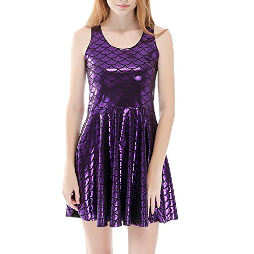 Girl Glitzer Kostüm (Perfashion Damen Meerjungfrau Ärmellos Party Club Kurz Abend Cocktail Ballkleid Skaterkleid Partykleid (XL,)