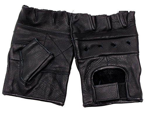 Leder Trainingshandschuhe ohne Finger schwarz S-XXL M