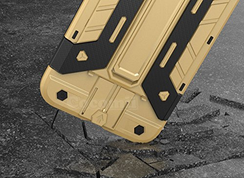 iPhone 8 Plus / 7 Plus Hülle, Cocomii Transformer Armor NEW [Heavy Duty] Premium Built-in Multi Card Holder Kickstand Shockproof Hard Bumper Shell [Military Defender] Full Body Dual Layer Rugged Cover Gold