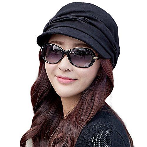 SIGGI schwarze Baumwolle Zeitungsjunge Mütze Barett Mütze Für Damen Mit Visier Glockige Baskenmütze Schirmmütze