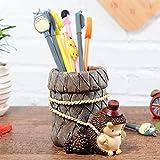 Zantec mignon Dessin animé Hérisson porte-stylo Microlandschaft Home Office Décoration de table, Hedgehog - Hat Style, 13.5*11*9