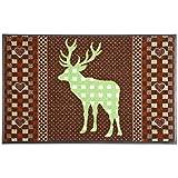 wash+dry Waschbare Fußmatte - Hirsch grün 50x75 cm Deer Fußabstreifer