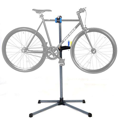 COSTWAY Fahrradmontageständer vierbeinig, Fahrrad Reparaturständer mit Werkzeugablage, Montageständer höhenverstellbar von 110 bis 145 cm, Fahrradhalterung Blau/Rot