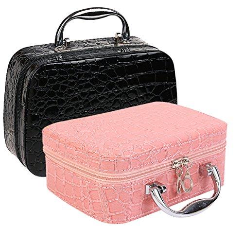 Vococal® Pu Cuir Maquillage Cosmetic Box/Case Toilette Organisateur Sac à Main de Stockage avec Miroir Motif Crocodile