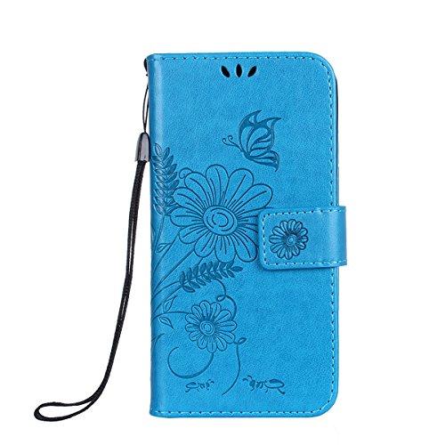 ISAKEN Kompatibel mit iPhone 4S Hülle, PU Leder Flip Cover Brieftasche Geldbörse Wallet Case Handyhülle Tasche Schutzhülle mit Handschlaufe Strap für iPhone 4 4S - Sonnenblume Schmetterling Blau