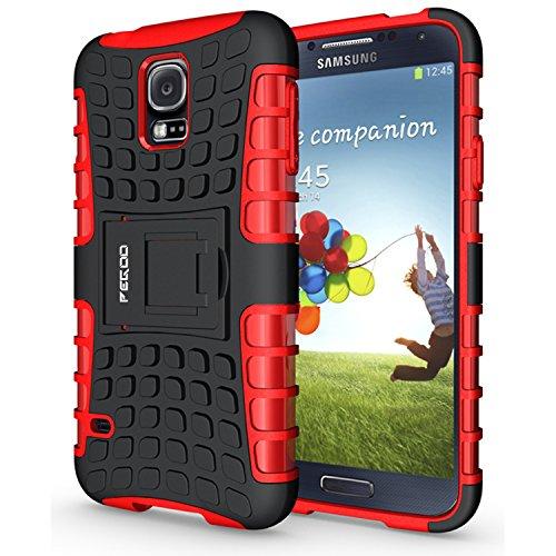 PEGOO Coque Galaxy S5, Antichoc Armure Housse par Le Souple TPU Silicone + Dur PC Double Mixte Protection Anti Scratch Cas Coque Housse Etui avec Support Cover Case pour Samsung Galaxy S5 (Rouge)