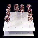 Super Cool Creations 21cm Durchmesser 6,5cm hoch Acryl Quadrat Cake Pop-Ständer mit 16Löcher 5cm Apart, weiß