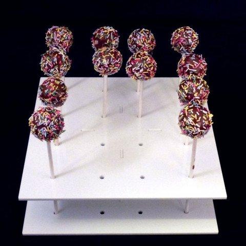 White Cake Säulen (Super Cool Creations 21cm Durchmesser 6,5cm hoch Acryl Quadrat Cake Pop-Ständer mit 16Löcher 5cm Apart, weiß)