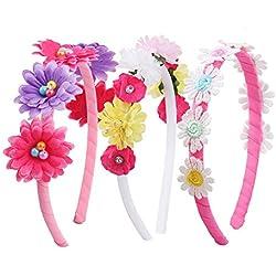 Candygirl - Diademas con diseño de margaritas y flores, 1 cm, para niños y niñas