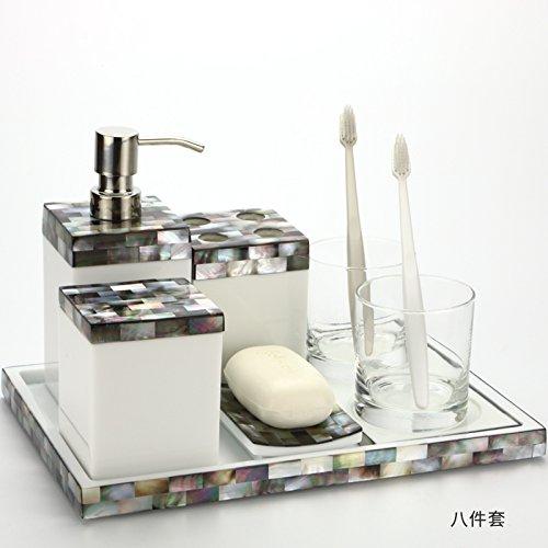 KHSKXeuropäische shell - bad, multi - stück setzt, harz waschen sechs stücke, mit tablett, bad lieferungen eingestellt,glückliche liebe acht stück (Shell Bad Setzt)