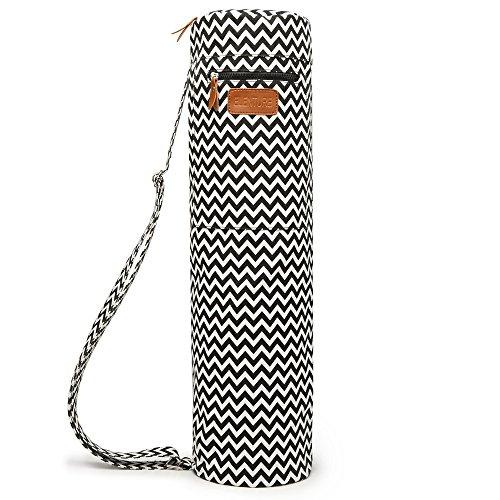 Elenture, durchgehende Reißverschluss Yoga-Matte, Tragetasche mit Multifunktions-Aufbewahrungstaschen, Wave