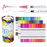 Laconile 60 Colors Dual Tip Brush Pens Art Markers 0.4mm Fine liners