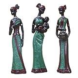 non-brand MagiDeal 3 stk. Deko Afrikanische Frau Figur Statue Skulptur, Afrikanerin Dekofigur - Grün