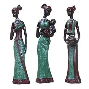 Homyl Figure Africane Scultura Tribale Signora Statua Da Collezione Arte 3-set - Verde