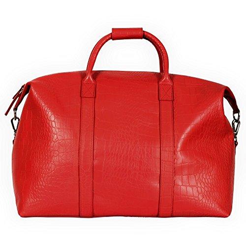 manbefair XL Reisetasche Paris FAIR TRADE Öko Leder Weekender Handgepäck Umhängetasche 50x38x28 cm (BxHxT) (Rot Kroko)