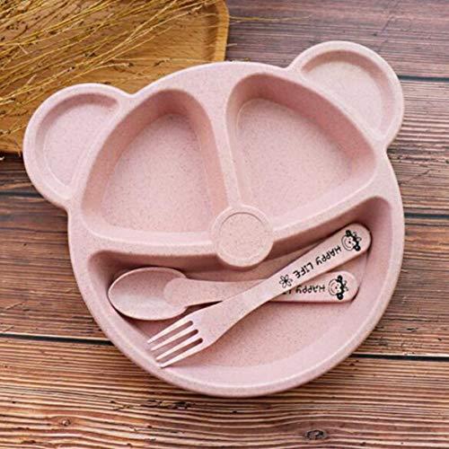 Kongqiabona Cubs Kinder Abendessen Set Weizen Stroh Kreative Geschirr Baby Dish Tray Frühstückstablett Addition Gabel und Löffel Portion Utensil Set