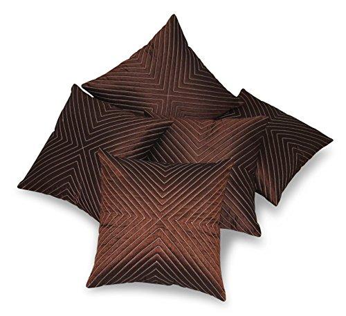 Zikrak Exim Set of 5 Vertical Tread Brown Cushion Covers 30X30 cm...
