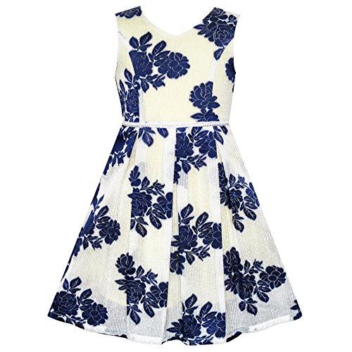 (Sunboree Mädchen Kleid Marine Blau Blume Perle Band Gr. 98)