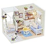 Miniature Puppenhaus Holzpuppenhaus, Ulanda Puppenhaus mit Möbeln, Süße Katze DIY Häuser Dollhouse Puppenhausmöbel Kit Geschenk mit Beleuchtung DIY für Kinder