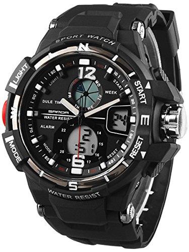 Alienwork Reloj Digital- Analógico Multi-función LCD Retroiluminación Outdoor Poliuretano negro negro SD-QU289-01