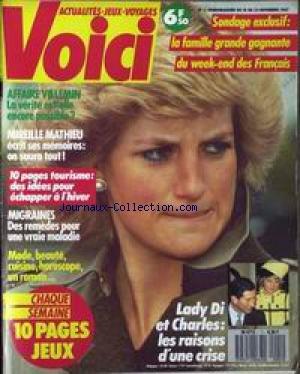 VOICI [No 1] du 24/11/1987 - VOICI AFFAIRE VILLEMIN - MIREILLE MATHIEU - MIGRAINES - MODE - BEAUTE - LADY DI ET CHARLES.