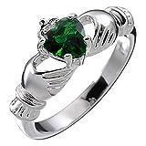 UPCO Sterling Silver, Birthstone irlandese Claddagh maggio Con Emerald Green 4 poli Set 9 millimetri 2ct CZ Cuore, promessa di fidanzamento Wedding Band Ring