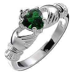 Idea Regalo - UPCO Jewellery Donna Sterling Silver, Birthstone Irlandese Claddagh Maggio con Emerald Green 4 Poli Set 9 Millimetri 2ct CZ Cuore, promessa di Fidanzamento Wedding Band Ring