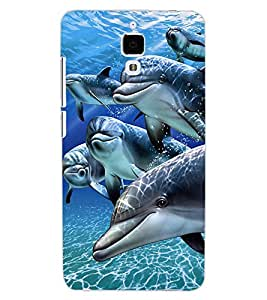 ColourCraft Lovely Dolphins Design Back Case Cover for XIAOMI MI 4